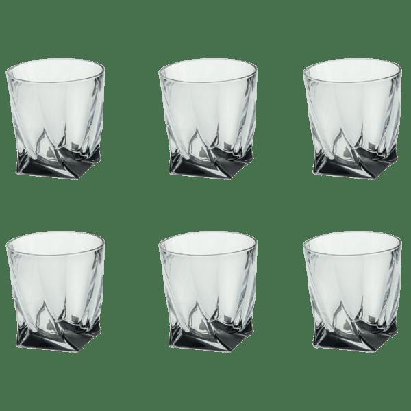 Комплект 6 чаши за уиски черно дъно Куадро 340ml 85028563