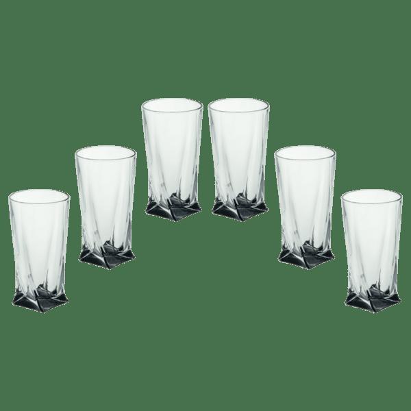Комплект 6 чаши за вода черно дъно Куадро 350ml 85028566