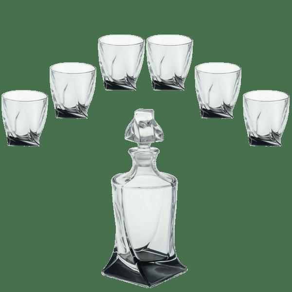 Комплект гарафа + 6 чаши за уиски черно дъно 340 мл Куадро 85028567