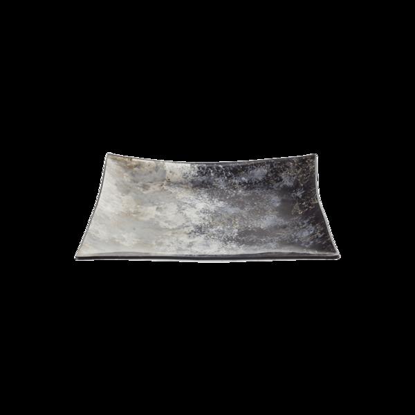 Стъклено квадратно плато 27см - Синьо 78028451