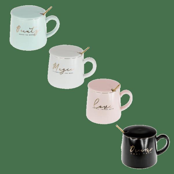 Чаша за кафе с лъжичка и капаче 79028757