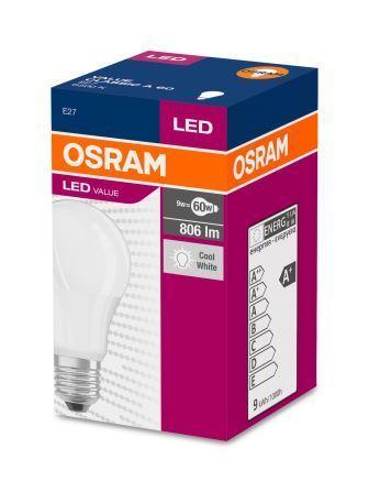 LED-крушка OSRAM, 9W, E27, 4000K, 220V, COOL WHITE