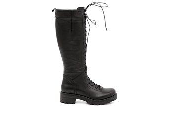 Дамски ботуши - черни ботуши от естествена кожа