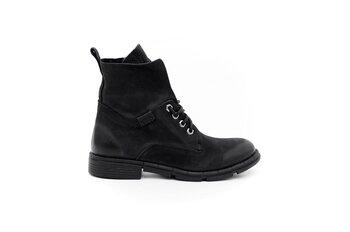 Обувки от естествена кожа - Ежедневни черни дамски боти от естествена кожа