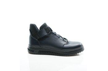 Обувки от естествена кожа - Ежедневни сини мъжки боти от естествена кожа