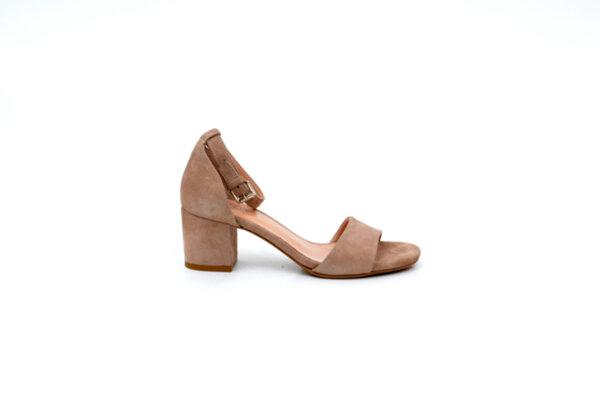 Елегантни бежови дамски сандали от естествен велур на висок ток 04.2114