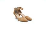 Елегантни бежови дамски обувки от естествен велур на висок ток 29.11602