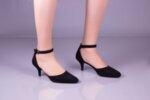 Елегантни черни дамски обувки от естествен велур на висок ток 29.11602