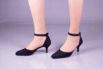 Елегантни сини дамски обувки от естествен велур на висок ток 29.11602