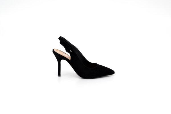 Елегантни черни дамски сандали от естествен велур на висок ток 01.1055