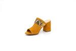 Дамски жълти чехли от естествен велур на висок ток 29.11403