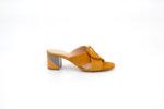 Дамски жълти чехли от естествен велур на висок ток 29.1703