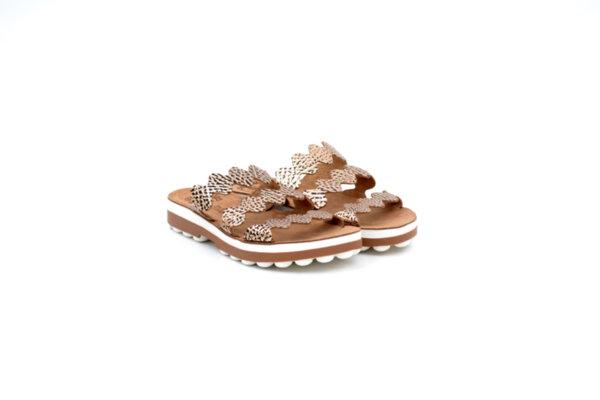Дамски кафяви чехли от естестена кожа 42.9012