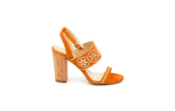 Елегантни жълти дамски сандали от естествен велур на висок ток 01.100