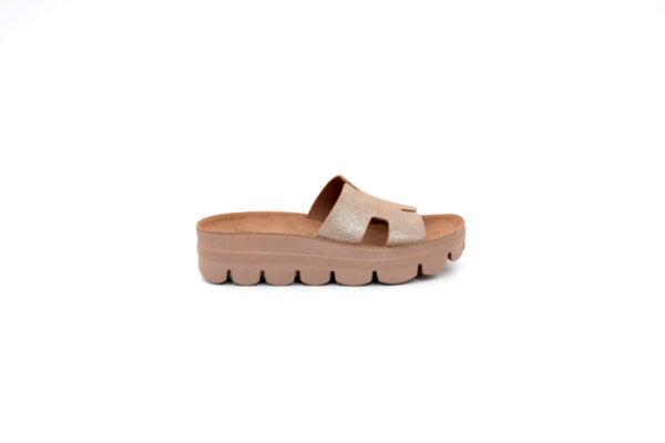 Дамски кафяви чехли от естествена кожа 42.206