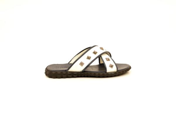 Мъжки бели чехли от естествена кожа 13.1932