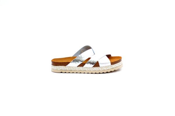Дамски сиви чехли от естествена кожа 40.3128