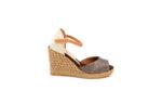 Ежедневни кафяви дамски сандали от естествена кожа на висок ток 41.7345