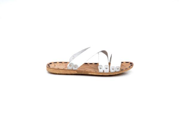 Мъжки бели чехли от естествена кожа 13.1713