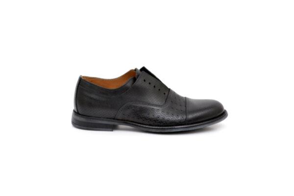 Елегантни черни мъжки обувки от естествена кожа 50.098
