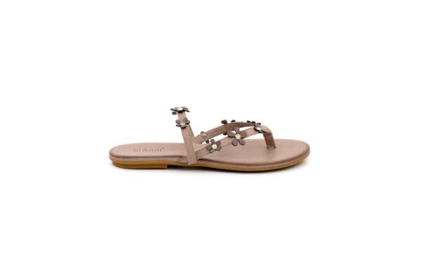 Дамски сиви чехли от естествена кожа 05.7471