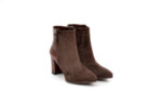 Елегантни кафяви дамски боти от естествена кожа и велур на висок ток 02.1052