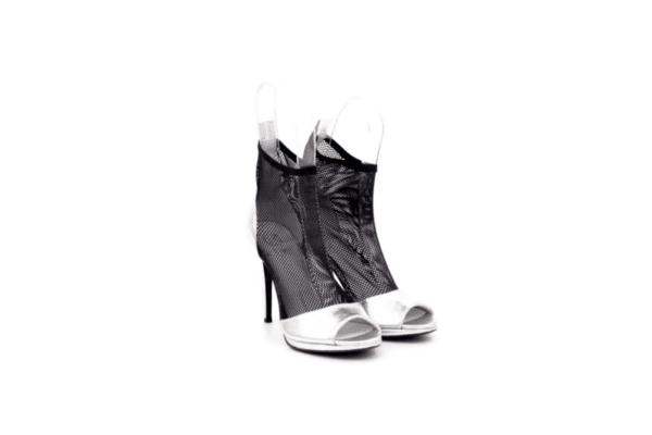 Елегантни сиви дамски сандали от естествена кожа на висок ток 01.2200