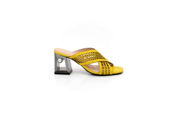 Елегантни дамски жълти чехли от естествена кожа на висок ток 04.2436