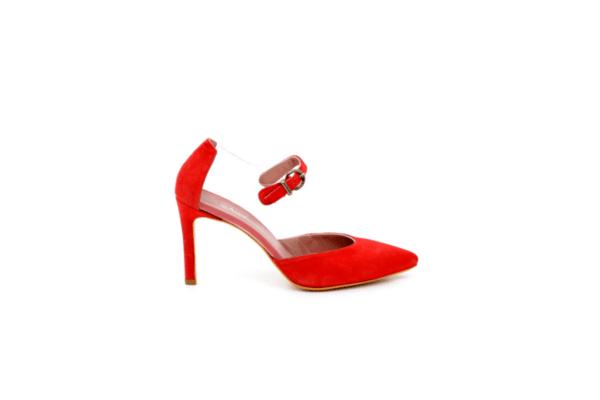 Елегантни червени дамски обувки от естествен велур на висок ток 02.1341
