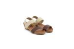 Ежедневни кафяви дамски сандали от естествена кожа и тикстил 52.360