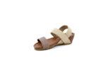 Ежедневни бежови дамски сандали от естествена кожа и текстил 52.360