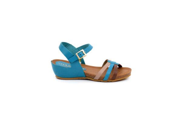Ежедневни сини дамски сандали от естествена кожа на среден ток 52.266