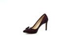 Елегантни дамски обувки от естествен велур в цвят бордо на висок ток 02.2076