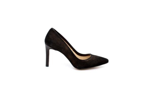 Елегантни кафяви дамски обувки от естествен велур на висок ток 02.932