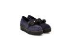 Ежедневни сини дамски обувки от естествен велур на среден ток 10.30115