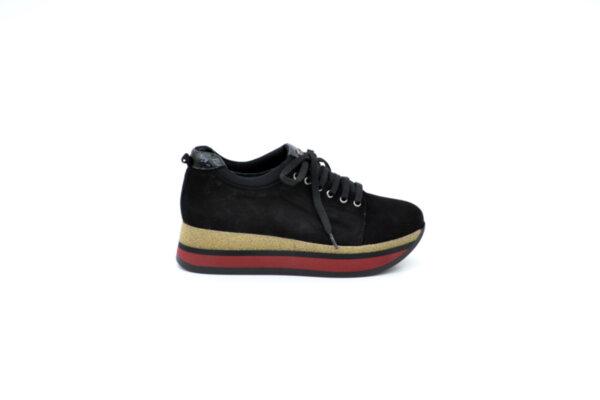 Ежедневни черни дамски обувки от естествен велур на среден ток 29.12708