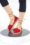 Ежедневни червени дамски обувки от естествен велур 32.7669