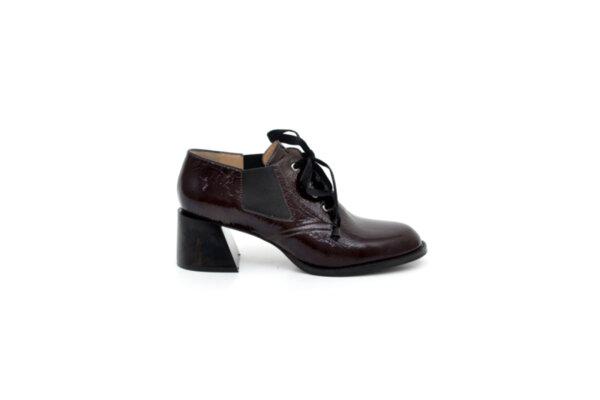 Елегантни дамски обувки от естествен лак в цвят бордо на висок ток 29.1100