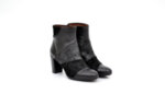 Елегантни черни дамски боти от естествена кожа и велур на висок ток 37.75971