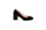 Елегантни черни дамски обувки от естествен велур на висок ток 01.1165