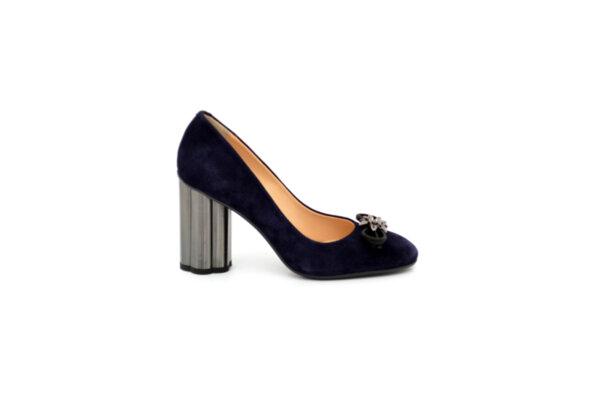 Елегантни сини дамски обувки от естествен велур на висок ток 01.1996
