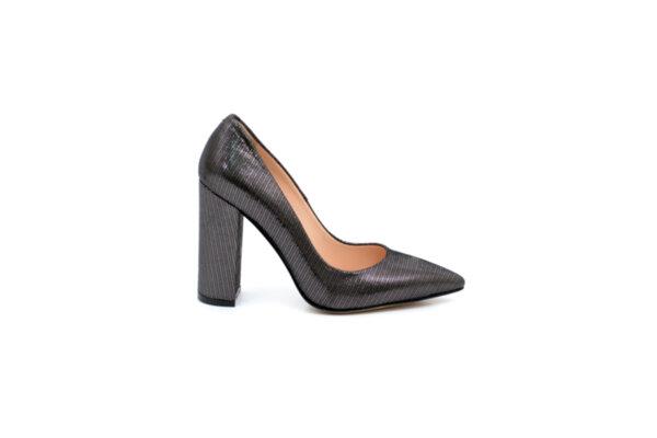 Елегантни сиви дамски обувки от естествена кожа на висок ток 01.6983