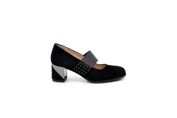 Елегантни черни дамски обувки от естествен набук на висок ток 29.702