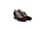 Елегантни кафяви дамски обувки от естествен набук на висок ток 29.702