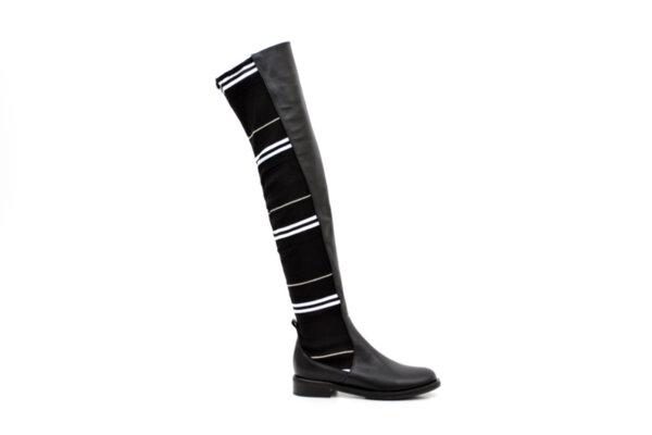 Ежедневни черни дамски ботуши от еко кожа и текстил 01.3054