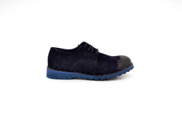 Ежедневни сини мъжки обувки от естествен велур 11.9111