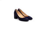 Елегантни сини дамски обувки от естествен велур на висок ток 01.1165