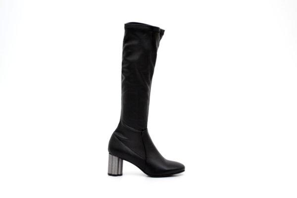 Елегантни черни дамски ботуши от еко кожа на висок ток 01.4450