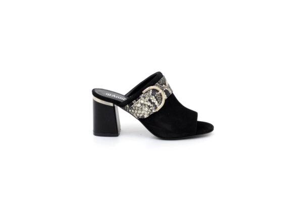 Дамски черни чехли от естествен велур на висок ток 29.11403
