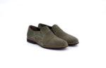 Ежедневни зелени мъжки обувки от естествен велур 11.3061